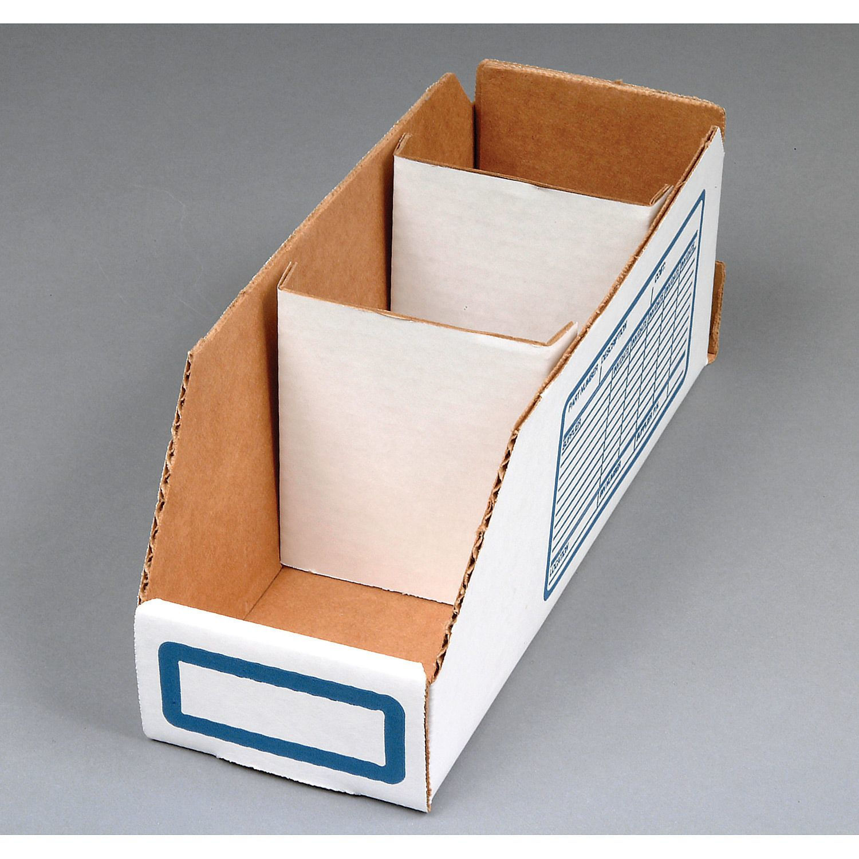 "White Corrugated Cardboard Divider for Shelf Bin Lot of 250 6/""W"