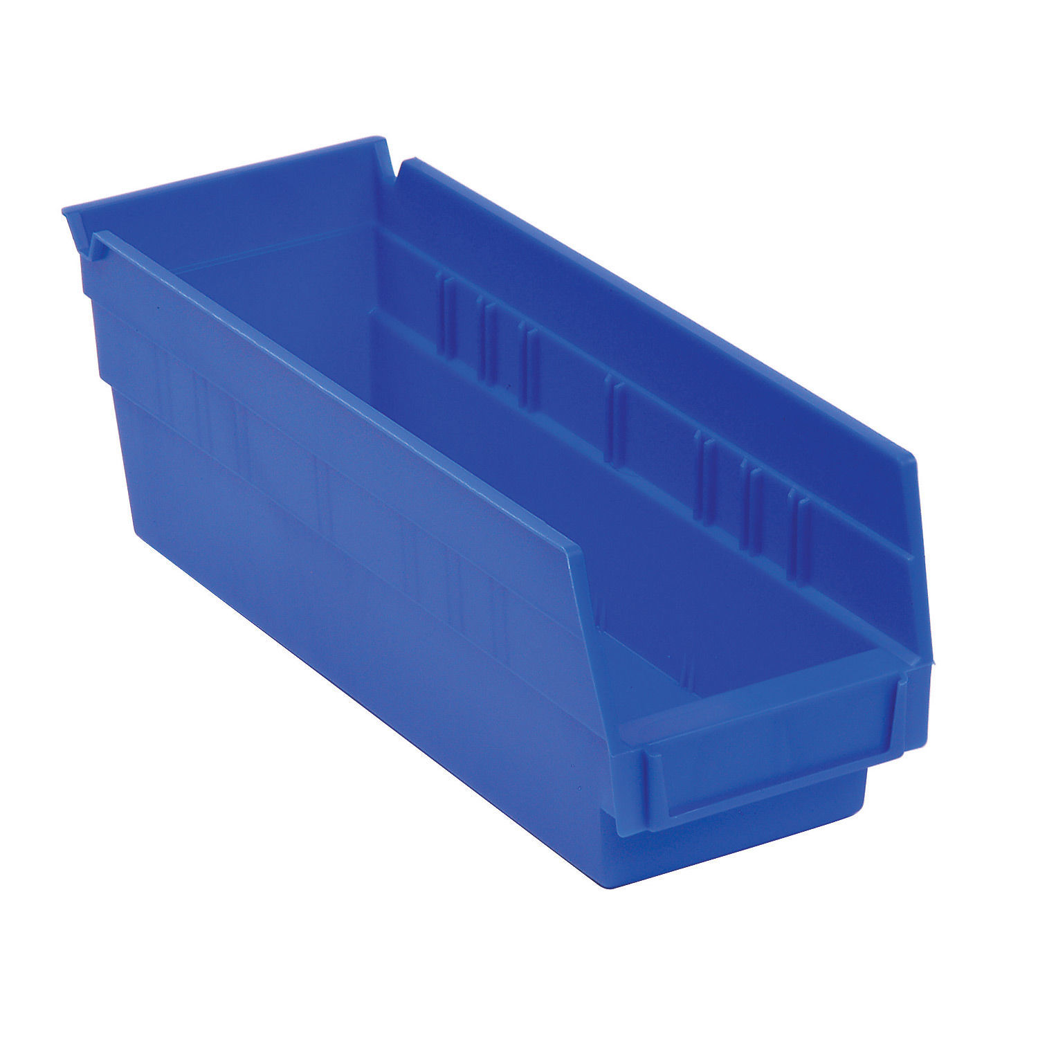 "Akro-Mils Plastic Shelf Bin, 6-5/8""W x 17-7/8""D x 4""H Blue, Lot of 12"