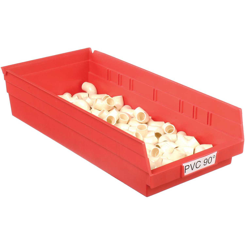 "Akro-Mils Plastic Shelf Bin, 8-3/8""W x 17-7/8""D x 4""H Red, Lot of 12"