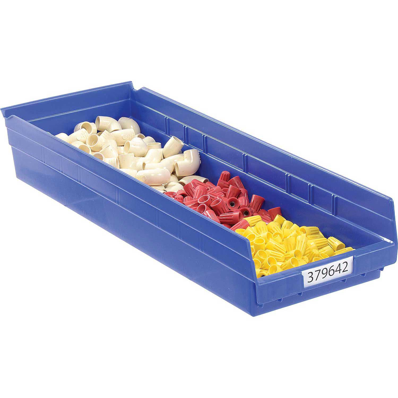 """Akro-Mils Plastic Shelf Bin, 8-3/8""""W x 23-5/8""""D x 4""""H Blue, Lot of 6"""