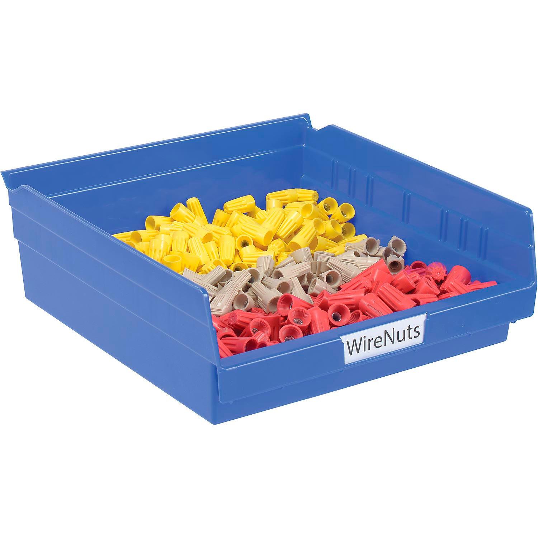 """Akro-Mils Plastic Shelf Bin, 11-1/8""""W x 11-5/8""""D x 4""""H Blue, Lot of 12"""