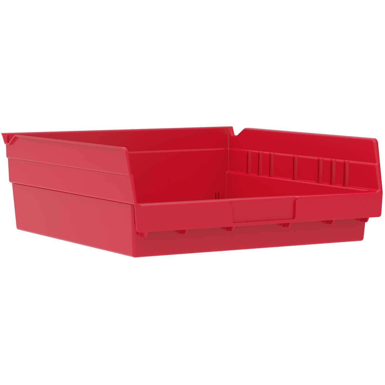 "Akro-Mils Plastic Shelf Bin, 11-1/8""W x 11-5/8""D x 4""H Red, Lot of 12"
