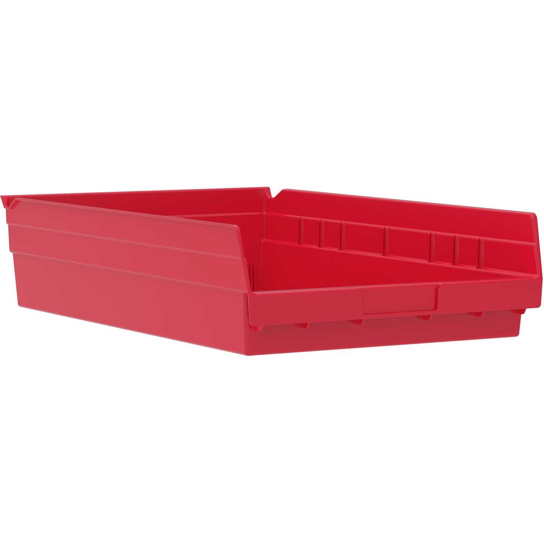 "Akro-Mils Plastic Shelf Bin, 11-1/8""W x 17-5/8""D x 4""H Red, Lot of 12"