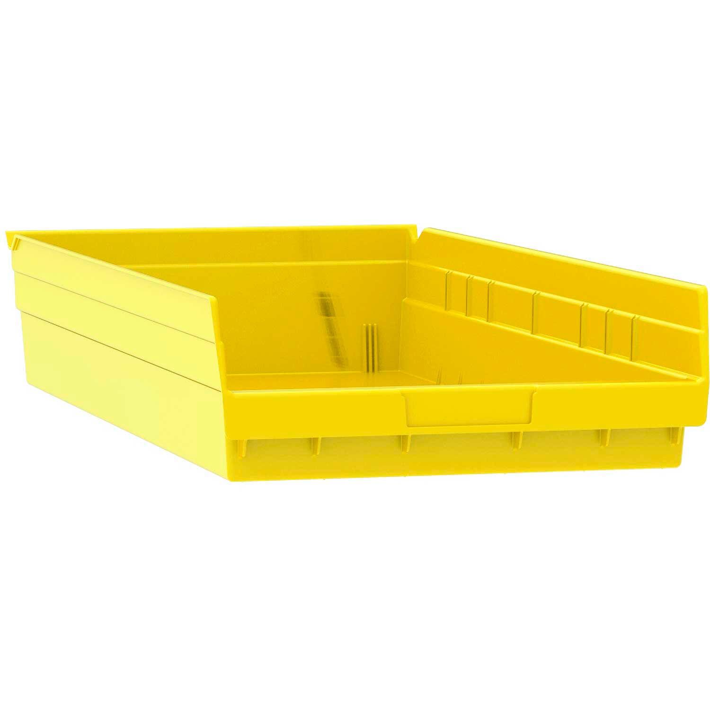 """Akro-Mils Plastic Shelf Bin Nestable, 11-1/8""""W x 23-5/8""""D x 4""""H, Yellow, Lot of"""