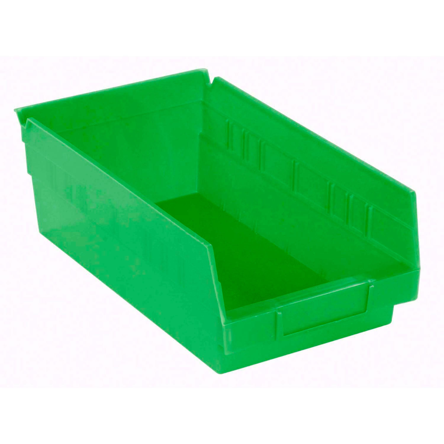 "Akro-Mils 30130 Plastic Shelf Bin Nestable - 6-5/8""W x 11-5/8""D x 4""D Green, Lot"