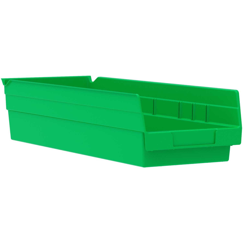 """Akro-Mils Plastic Shelf Bin Nestable, 6-5/8""""W x 17-7/8""""D x 4""""H, Green, Lot of 12"""