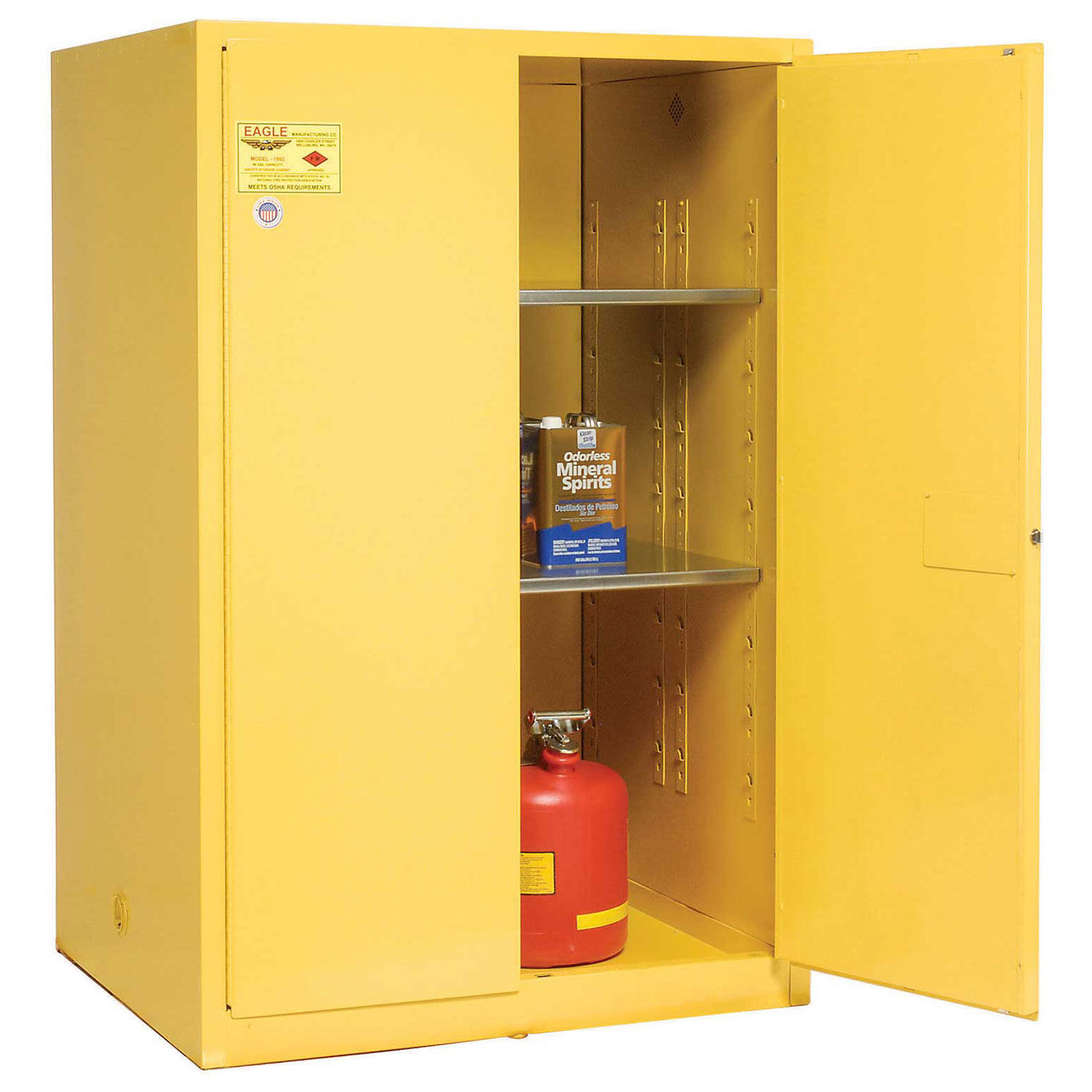 Details About Eagle Double Wall Flammable Liquids Safety Cabinet 43x34x65 Manual Close