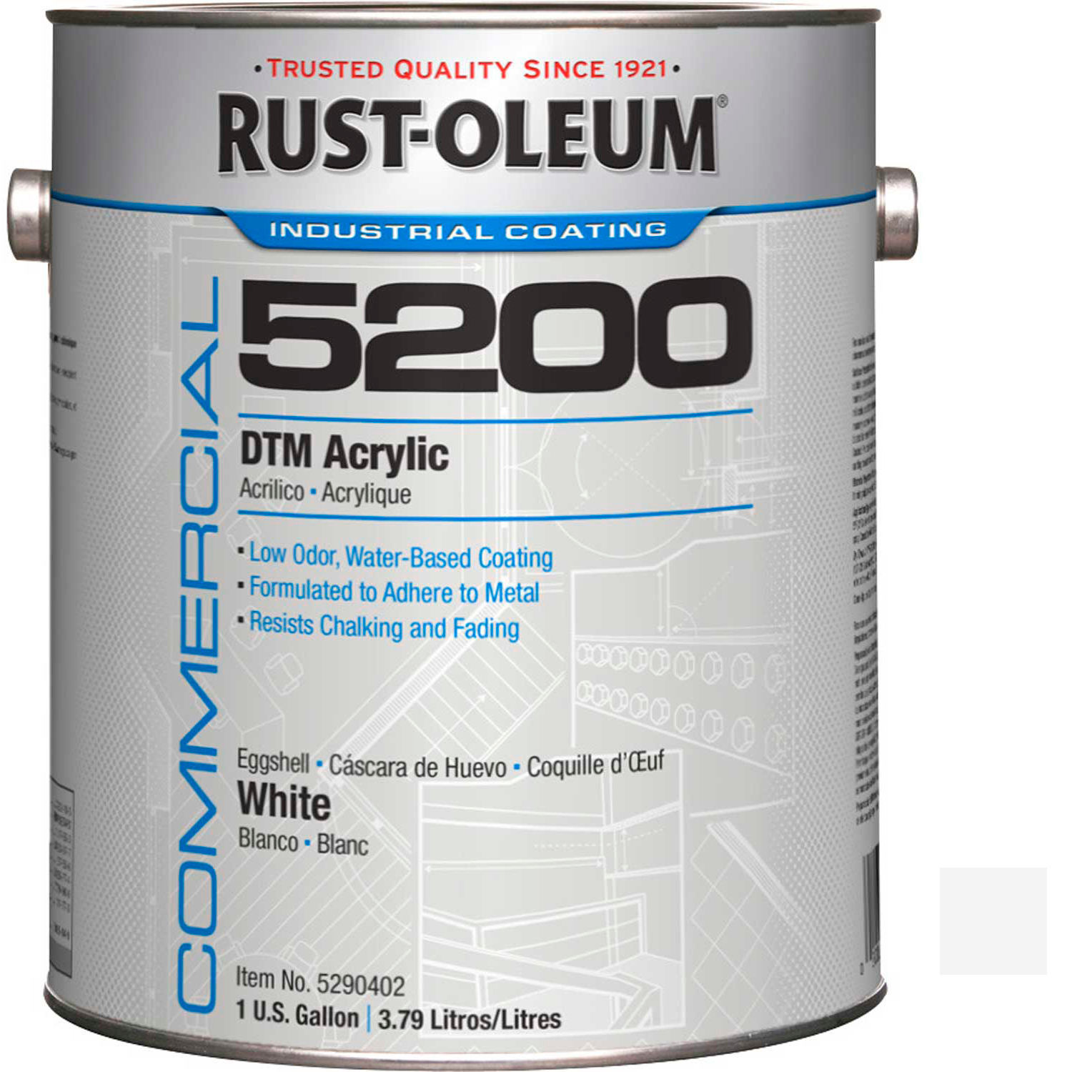 Rust-Oleum 5200 System  250 VOC DTM Acrylic, Flat White Gallon Can, Lot of 2