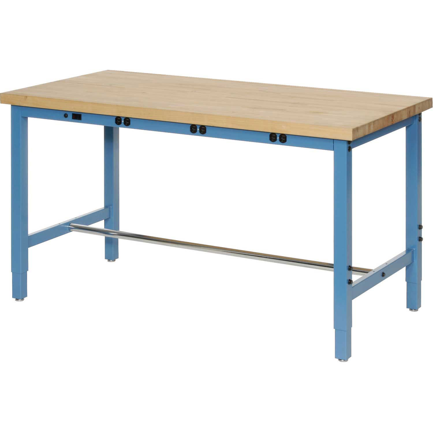 Butcher Block Workbench >> Details About Production Workbench With Power Apron Birch Butcher Block Square Edge Blue
