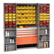 Storage Cabinet With Shelves, 4 Drawers, Yellow/Red Bins, 38x24x72