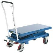 Mobile Scissor Lift Table, 39 x 20 Platform, 1100 Lb. Capacity, Double Scissor