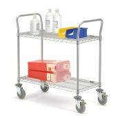 Nexel Wire Shelf Utility Cart With Brakes, 2 Shelves, 800 Lb. Capacity, 36x18x38