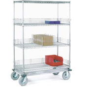 Chrome Wire Shelf Truck, 60x18x83 1200 Pound Capacity