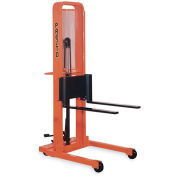"PRESTO Foot-Operated Stackers - Adjustable 3""Wx30""L Forks - 3-1/4"" Lowered Height, 76"" Lift Height"