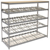 "4 Level Carton Flow Shelving, Single Depth, 96""W x 36""D x 84""H"