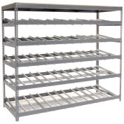 "5 Level Carton Flow Shelving, Single Depth, 96""W x 36""D x 84""H"