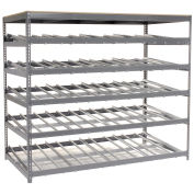"5 Level Carton Flow Shelving, Single Depth, 96""W x 48""D x 84""H"