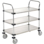 Stainless Steel Utility Cart, 3 Shelves, 36x18x38