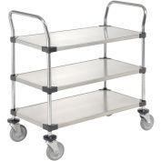 Nexel Stainless Steel Utility Cart, 3 Shelves, 36x18x38
