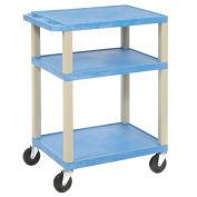 "LUXOR | H. WILSON Tuffy Standard Utility Carts - 24""Wx18""D Shelf - 34""H - Blue"