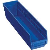 "Nestable Shelf Storage Bin, Plastic, 4-1/8""Wx 17-7/8""D x 4""H, Blue - Pkg Qty 12"