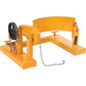 Forklift Tilting 55 Gallon Drum Dumper, Steel, Yellow, 800 Lb. Capacity