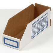 "Foldable Corrugated Shelf Bin, White, 8""W x 18""D x 4-1/2""H - Pkg Qty 100"