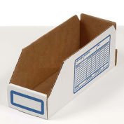 "Foldable Corrugated Shelf Bin, White, 12""W x 18""D x 4-1/2""H - Pkg Qty 100"