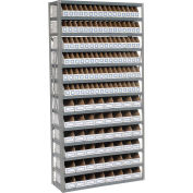 Open Bin Shelving w/13 Shelves & 144 White Bins, 36x12x73