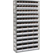 Open Bin Shelving w/13 Shelves & 72 White Bins, 36x12x73