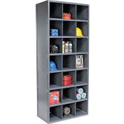 54 Compartment Steel Storage Bin Cabinet with Plastic Dividers, 36x12x85