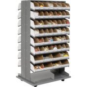 Mobile Double Sided Bin Rack with (112) Corrugated Bins, 36x26x65