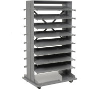 Mobile Double Sided Bin Rack Without Bins, 36x26x65