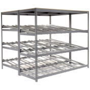 "4 Level Carton Flow Shelving, Double Depth, 96""W x 72""D x 84""H"