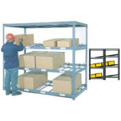 "4 Level Carton Flow Shelving, Double Depth, 96""W x 96""D x 84""H"