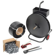 """Polypropylene Strapping Kit - 1/2"""" x 9000' Strapping, Cart, Seals, Crimper, Tensioner"""