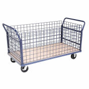 Euro Style Truck - 4 Wire Sides & Wood Deck, 60 x 30, 2000 Lb. Capacity