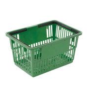 "Plastic Shopping Basket with Plastic Handle, Standard, 17""L X 12""W X 9""H, Green - Pkg Qty 12"
