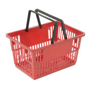 """Plastic Shopping Basket with Plastic Handle, Standard, 17""""L X 12""""W X 9""""H, Red - Pkg Qty 12"""