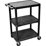 "LUXOR | H. WILSON Flush-Shelf Carts - 24""Wx18""D Shelf - 34""H - 3 Shelves - Black"
