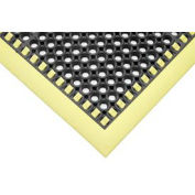 """Hi-Visibility Safety Mat with Borders on 3 Sides, 38x40x1/8"""", Yellow"""