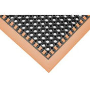 """Hi-Visibility Safety Mat with Borders on 3 Sides, 38x64x1/8"""", Orange"""