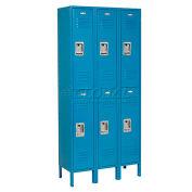 Double Tier Locker, 12x15x36, 6 Door Ready To Assemble, Blue