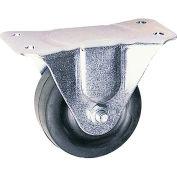 "3"" Rubber Wheel, Light Duty Rigid Plate Caster, 150 Lb. Capacity"