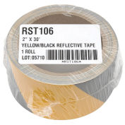 "INCOM Reflective Safety Tape, 2""W x 30'L, Striped Yellow/Black, 1 Roll"