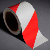 "INCOM Reflective Safety Tape, 3""W x 30'L, Striped Red/White, 1 Roll"