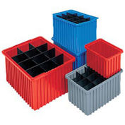 Akro-Mils Akro-Grid Dividable Container, 22-3/8 x 17-3/8 x 8, Red - Pkg Qty 3