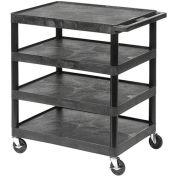 "LUXOR | H. WILSON Flush-Shelf Carts - 24""Wx18""D Shelf - 36""H - 4 Shelves - Black"