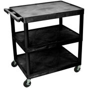 "LUXOR   H. WILSON Flush-Shelf Carts - 32""Wx24""D Shelf - 33""H - 3 Shelves - Black"