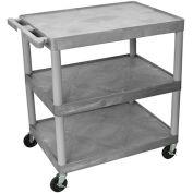 "LUXOR   H. WILSON Flush-Shelf Carts - 32""Wx24""D Shelf - 33""H - 3 Shelves - Gray"